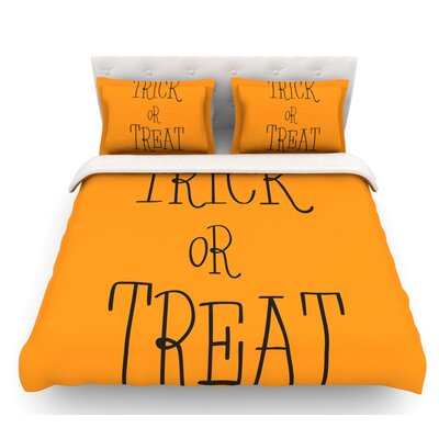 Trick or Treat  Featherweight Duvet Cover Color: Black, Size: Twin