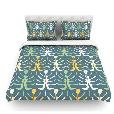 My Leaves by Julia Grifol Featherweight Duvet Cover Size: King, Color: Blue, Fabric: Woven Polyester