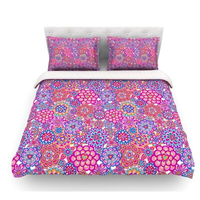 My Happy Flowers by Julia Grifol Featherweight Duvet Cover Color: Red, Size: Queen