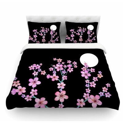 Cherry Blossom at Night by Julia Grifol Featherweight Duvet Cover Size: Twin