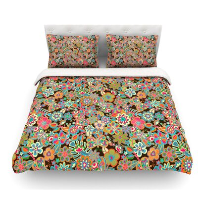 My Butterflies and Flowers by Julia Grifol Floral Featherweight Duvet Cover Size: Queen, Color: Brown