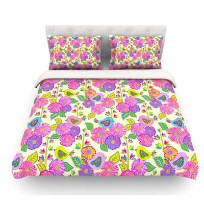 My Birds and My Flowers by Julia Grifol Featherweight Duvet Cover Size: Twin