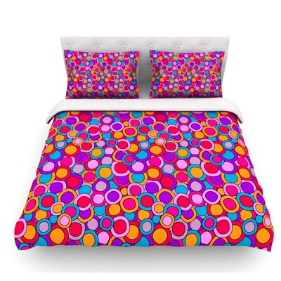 My Colorful Circles by Julia Grifol Featherweight Duvet Cover Size: King, Fabric: Lightweight Polyester