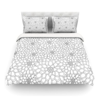 Flowers by Julia Grifol Featherweight Duvet Cover Size: Queen, Color: White, Fabric: Lightweight Polyester