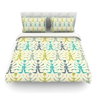 My Leaves by Julia Grifol Featherweight Duvet Cover Color: Teal/Green, Size: Twin, Fabric: Cotton