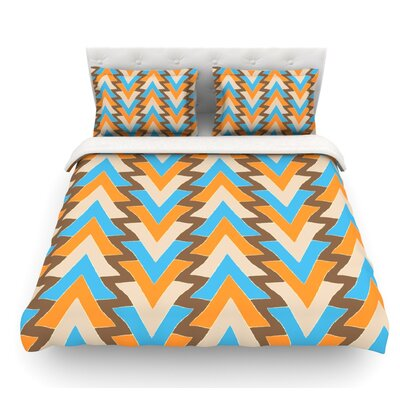 My Triangles by Julia Grifol Featherweight Duvet Cover Color: Aqua/Blue/Orange, Size: King
