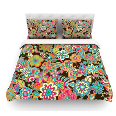My Butterflies and Flowers by Julia Grifol Featherweight Duvet Cover Size: Queen, Fabric: Woven Polyester