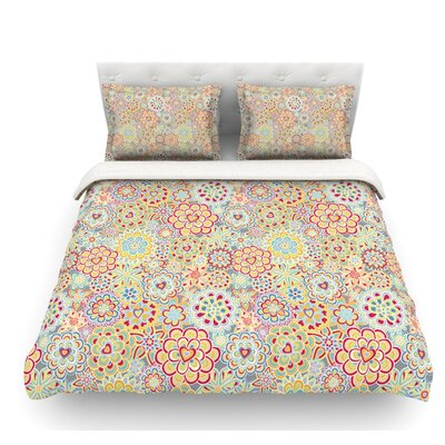 My Happy Flowers by Julia Grifol Featherweight Duvet Cover Size: Queen, Color: Purple