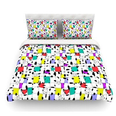 My Happy Squares by Julia Grifol Featherweight Duvet Cover Size: Queen