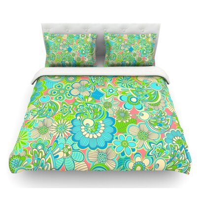Welcome Birds to My Garden by Julia Grifol Featherweight Duvet Cover Size: Queen, Fabric: Lightweight Polyester