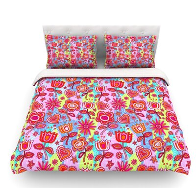 My Folk Flowers by Julia Grifol Featherweight Duvet Cover Size: King, Fabric: Woven Polyester
