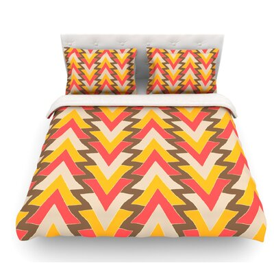 My Triangles by Julia Grifol Featherweight Duvet Cover Color: Red/Orange/Brown, Size: King