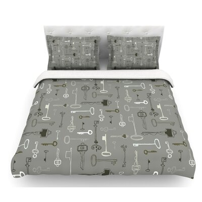 Keys by Laurie Baars Featherweight Duvet Cover Color: Gray, Size: Twin