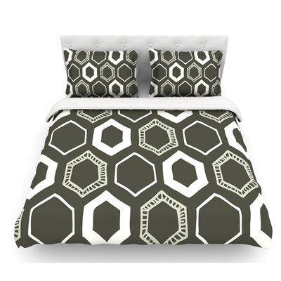 Hexy by Laurie Baars Featherweight Duvet Cover Color: Green, Size: King