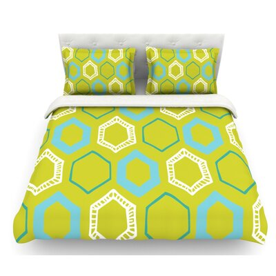 Hexy by Laurie Baars Featherweight Duvet Cover Size: King, Color: Lime/Green/Blue