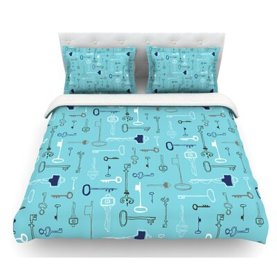 Keys by Laurie Baars Featherweight Duvet Cover Color: Blue/Aqua, Size: Queen