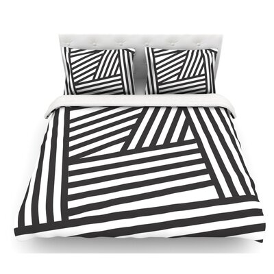 Stripes by Louise Machado Featherweight Duvet Cover Size: Queen, Color: Black