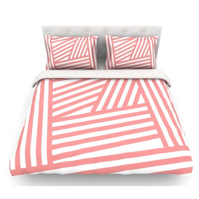 Stripes by Louise Machado Featherweight Duvet Cover Color: Rose/Pink/White, Size: King