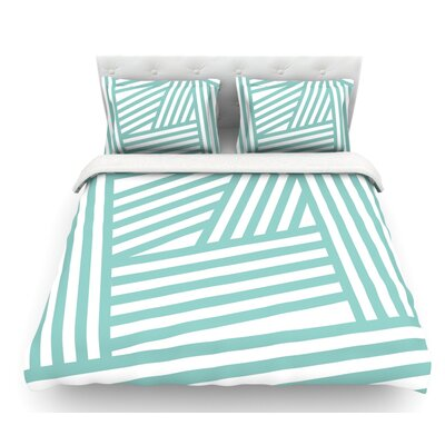 Stripes by Louise Machado Featherweight Duvet Cover Size: Queen, Color: Aqua