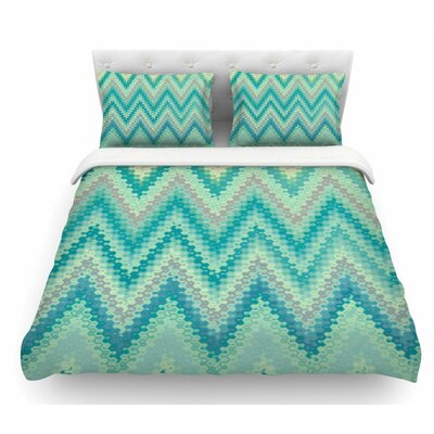 Seventies Emerald Chevron by Nika Martinez Abstract Featherweight Duvet Cover Size: Queen