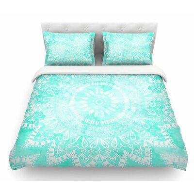 Boho Flower Mandala by Nika Martinez Featherweight Duvet Cover Color: Teal, Size: Queen