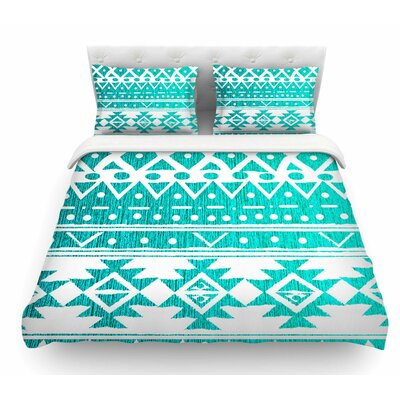 Aquamarine Tribal by Nika Martinez Featherweight Duvet Cover Size: King
