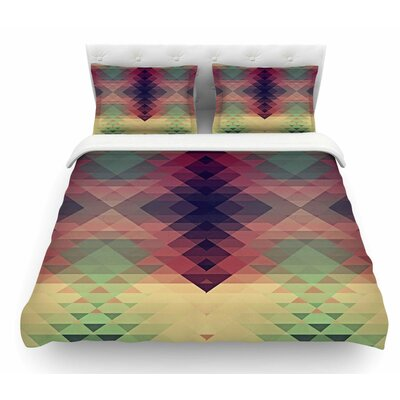 Hipsterland by Nika Martinez Featherweight Duvet Cover Color: Maroon/Green, Size: King