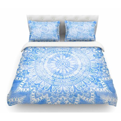 Boho Flower Mandala by Nika Martinez Featherweight Duvet Cover Color: Blue, Size: Queen