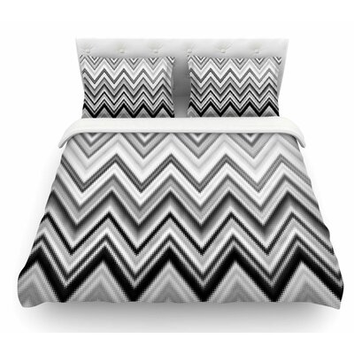 Seventies Chevron by Nika Martinez Featherweight Duvet Cover Color: Black/White, Size: King