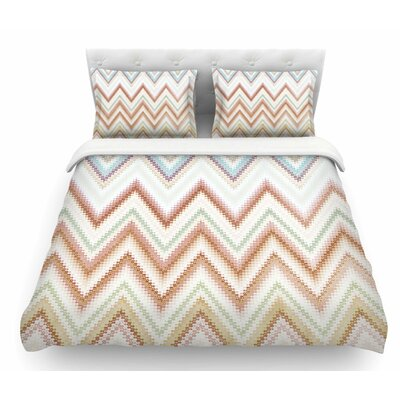 Seventies Chevron by Nika Martinez Featherweight Duvet Cover Color: Beige, Size: King