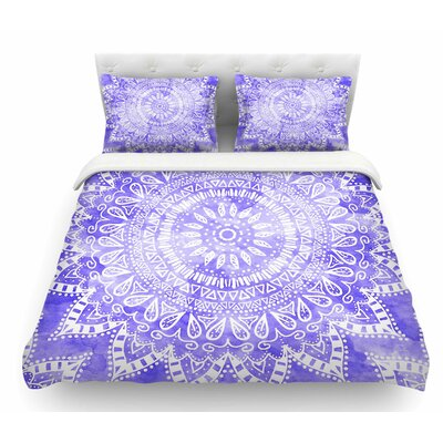 Boho Flower Mandala by Nika Martinez Featherweight Duvet Cover Color: Purple, Size: Queen