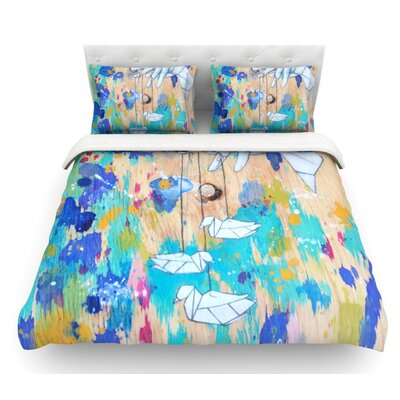 Origami Strings by Kira Crees Featherweight Duvet Cover Size: King
