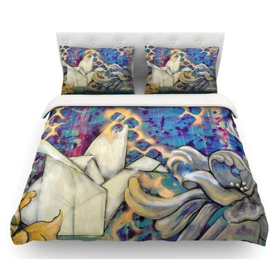 Peonies and Crane by Kira Crees Featherweight Duvet Cover Size: King, Fabric: Lightweight Polyester