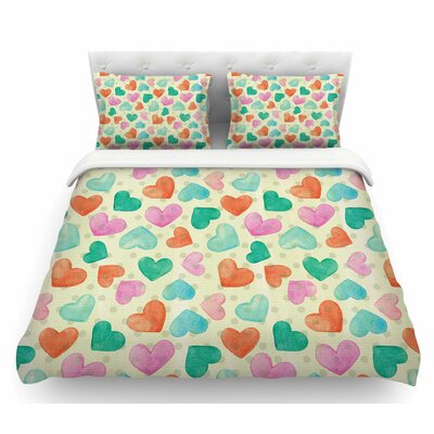 Watercolor Hearts by Louise Machado Featherweight Duvet Cover Size: King