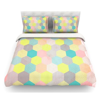 Pastel Hexagon by Louise Machado Geometric Featherweight Duvet Cover Size: King, Fabric: Lightweight Polyester