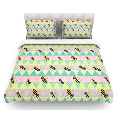 Little Bee by Louise Machado Pastel Chevron Featherweight Duvet Cover Size: Twin, Fabric: Lightweight Polyester