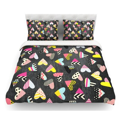 Pieces of Heart by Louise Machado Featherweight Duvet Cover Size: King, Fabric: Cotton