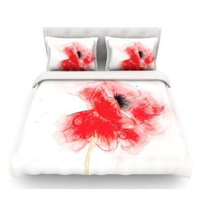 Poppy by Louise Floral Featherweight Duvet Cover Size: Twin, Fabric: Woven Polyester