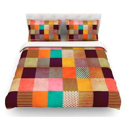 Decorative Pixel by Louise Machado Warm Patches Featherweight Duvet Cover Size: Queen, Fabric: Cotton