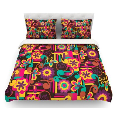 Arabesque Floral by Louise Machado Bright Colorful Featherweight Duvet Cover Size: Queen