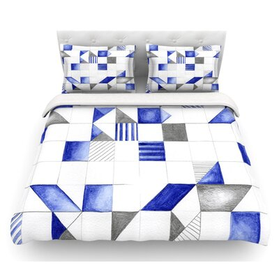 Winter Geometry by Kira Crees Featherweight Duvet Cover Size: King, Fabric: Cotton