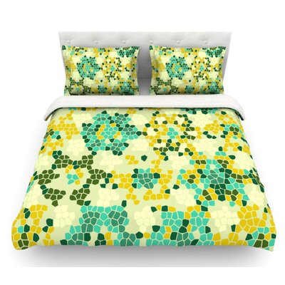 Flower Garden Mosaic by Laura Nicholson Featherweight Duvet Cover Size: King