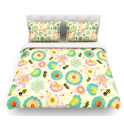 Floral Bee by Louise Machado Featherweight Duvet Cover Size: Twin, Fabric: Woven Polyester