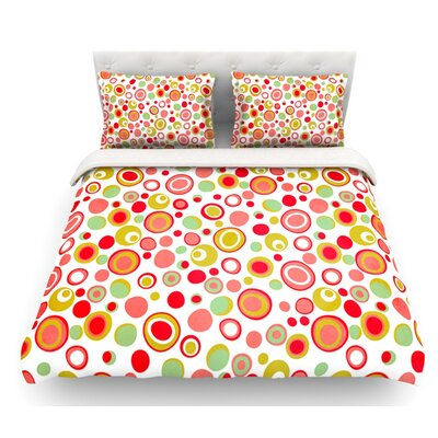 Bubbles by Louise Machado Warm Circles Featherweight Duvet Cover Size: Queen, Fabric: Lightweight Polyester