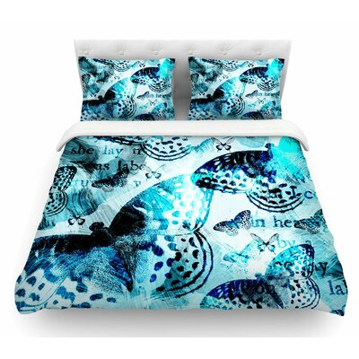 Butterfly by Li Zamperini Abstract Featherweight Duvet Cover Size: Queen
