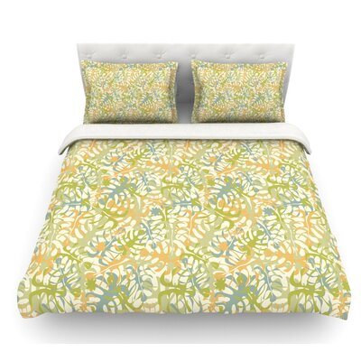 Warm Tropical Leaves by Julia Grifol Featherweight Duvet Cover Size: King