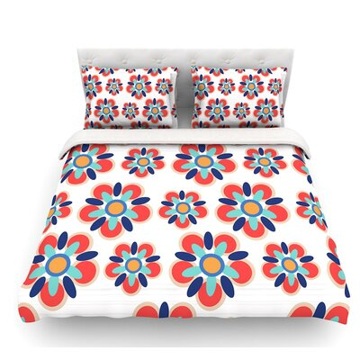 Folksy by Jolene Heckman Featherweight Duvet Cover Color: Red/Teal, Size: King