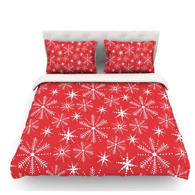 Snowflake Berry by Julie Hamilton Holiday Featherweight Duvet Cover Size: King