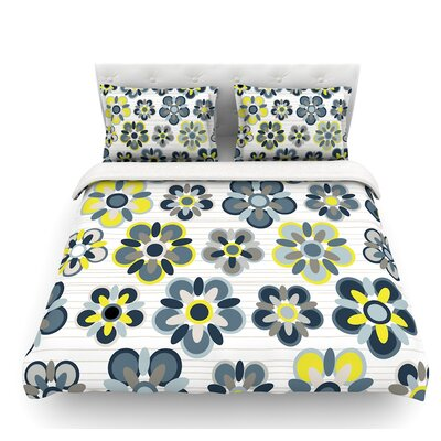 Folksy by Jolene Heckman Featherweight Duvet Cover Color: Yellow/Gray/Blue, Size: Queen