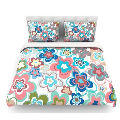 Morning by Jolene Heckman Featherweight Duvet Cover Color: Blue/Red, Size: Queen